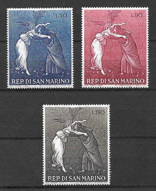 sellos navidad San Marino 1968