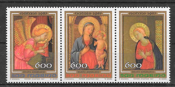 filatelia colección navidad San Marino 1987