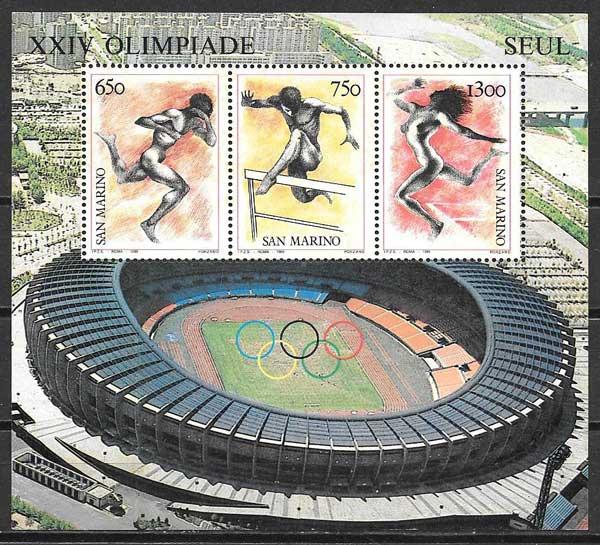 sellos olimpiadas San Marino 1988