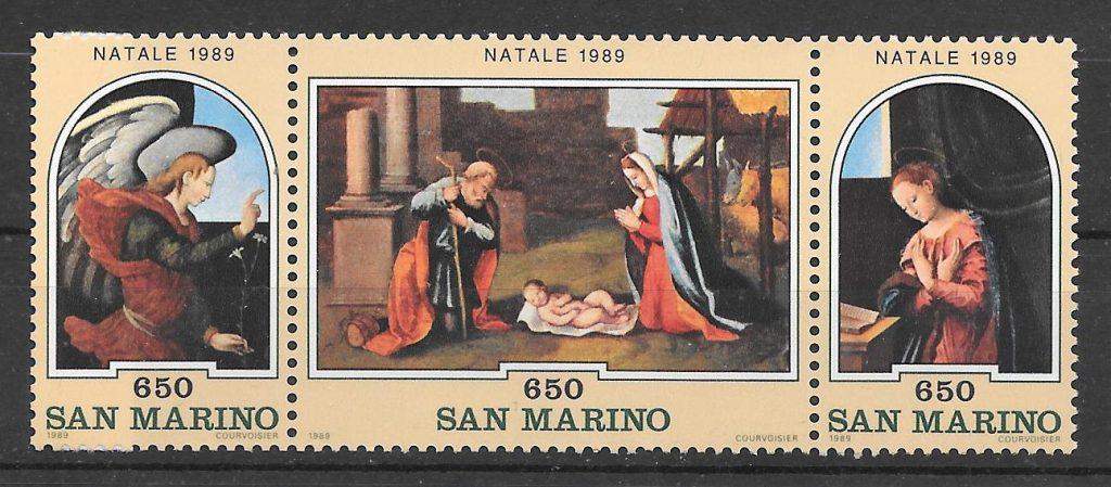 sellos navidad San Marino 1989