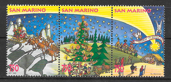 filatelia colección navidad San Marino 1995