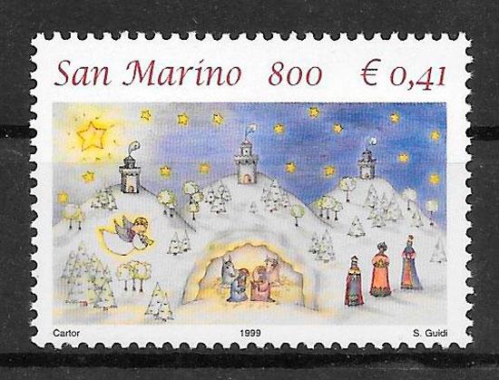 sellos navidad San Marino 1999