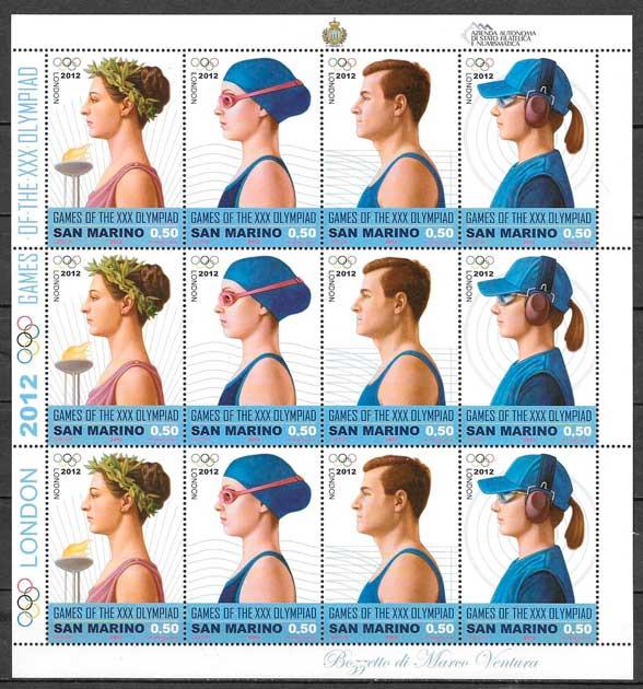 sellos colección deporte San Marino 2012