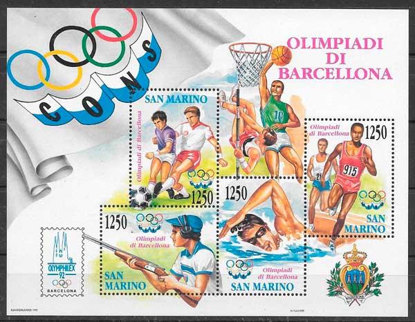 colección sellos deporte San Marino 1992