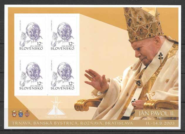 filatelia personalida el Papa Eslovaquia 2003