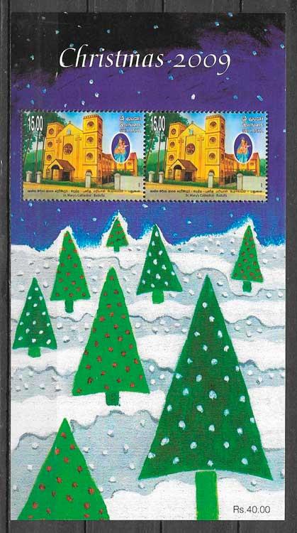 sellos navidad Sri Lanka 2009