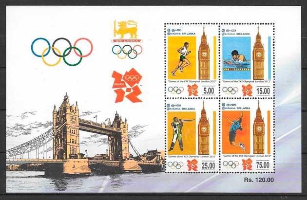 colección sellos deporte Sri Lanka 2012