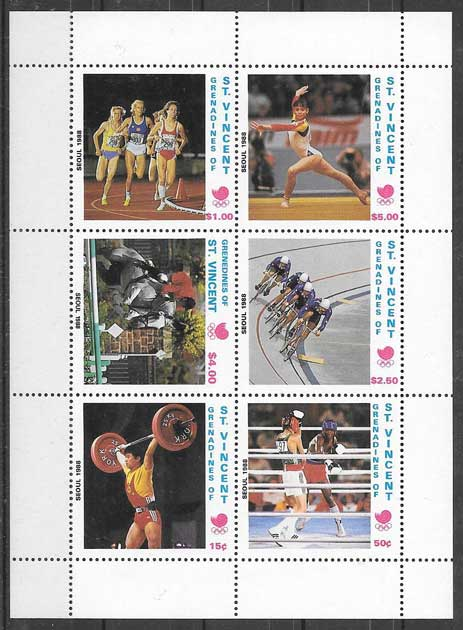 Colección sellos Sain Vincent deporte 1989