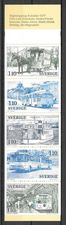 Filatelia Transporte general Suecia 1977