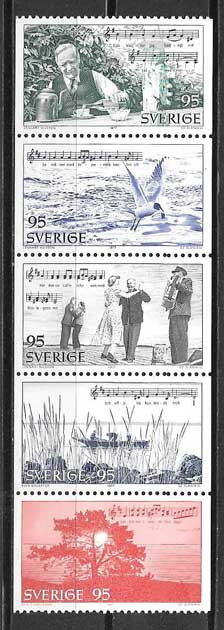 Filatelia arte Suecia 1977
