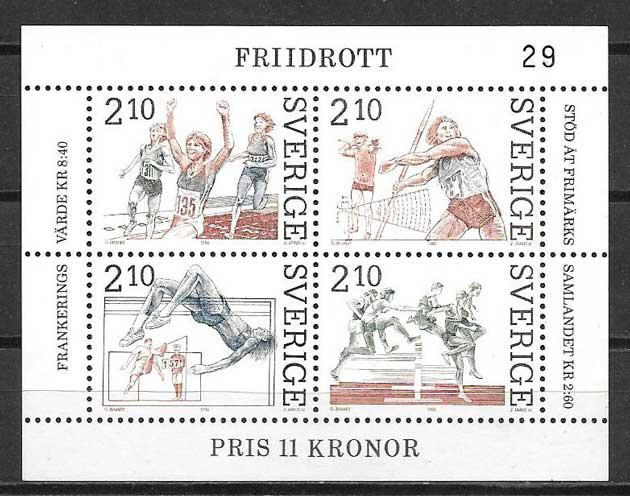 Filatelia deporte Suecia 1986
