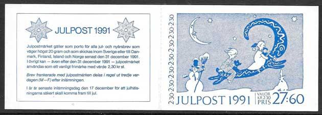 colección sellos navidad Suecia 1991
