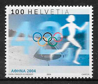 colección sellos deporte Suiza 2004