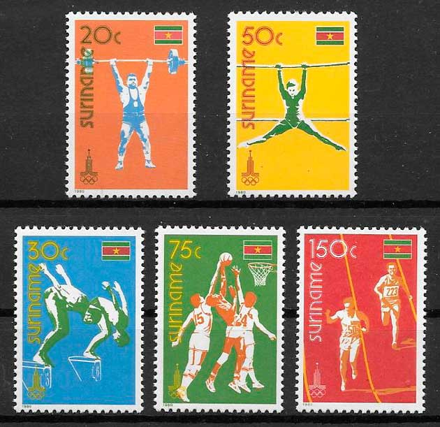 sellos deporte Surinam 1980