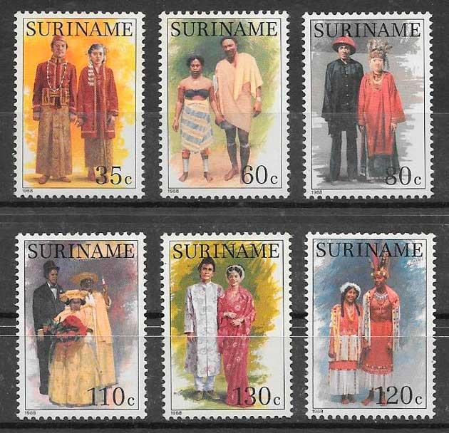 filatelia arte Suriname 1988