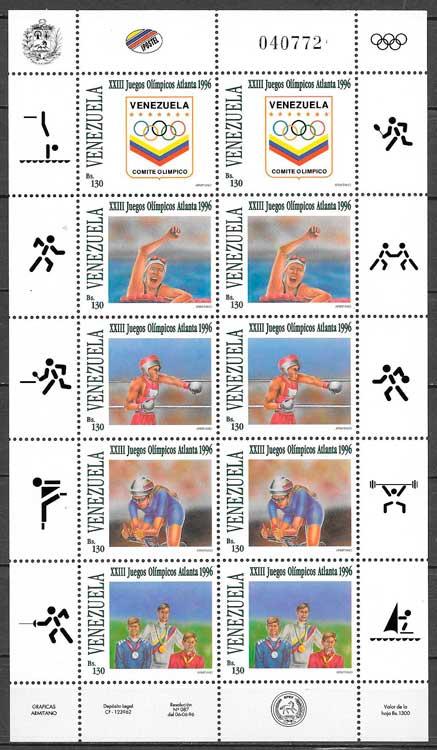 filatelia deporte Venezuela 1996