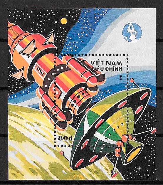 filatelia colección espacio Vit Nam 1988