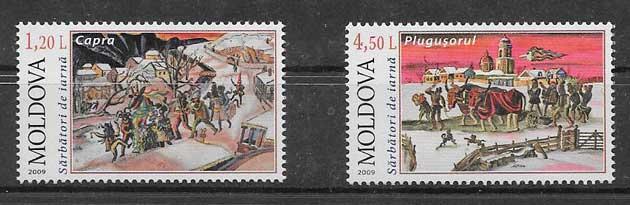 sellos navidad Moldavia 2009