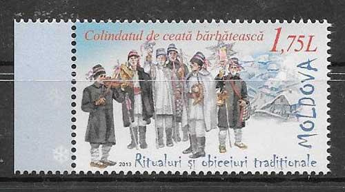 Estampillas navidad Moldavia 2013
