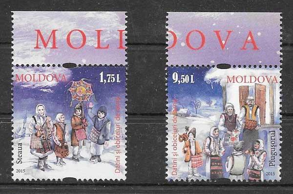sellos navidad 2015 Moldavia