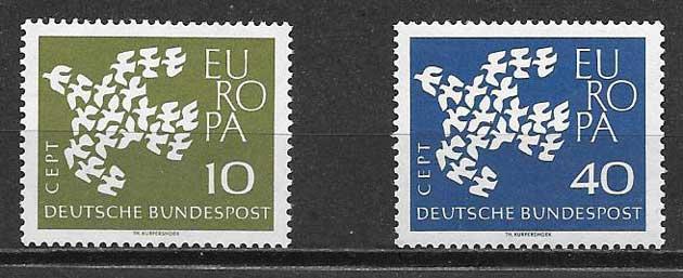 sellos tema Europa Alemania 1961