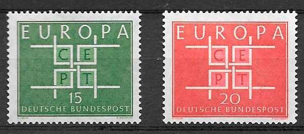 sellos tema Europa Alemania 1963