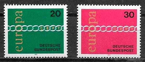 sellos tema Europa Alemania 1971