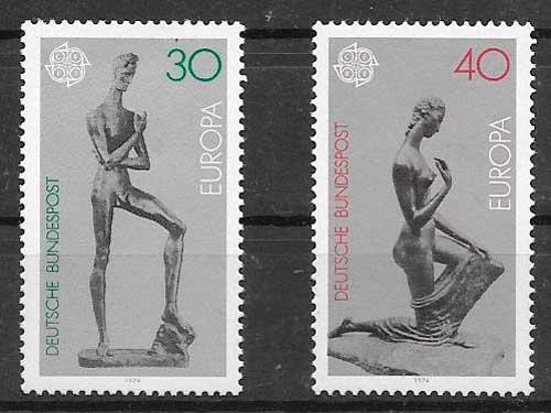 sellos Tema Europa Alemania 1974