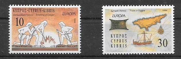 Sellos Chipre Tema Europa 1994