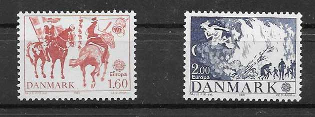 Filatelia Dinamarca 1981 Tema Europa