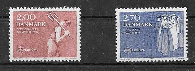 Sellos Dinamarca 1982 Tema Europa