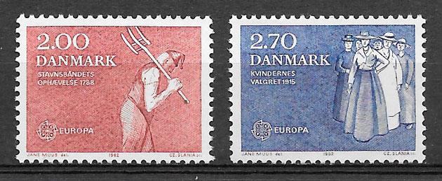 colección sellos europa Dinamarca 1982