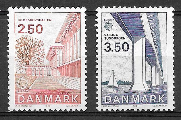 sellos Europa Dinamarca 1983
