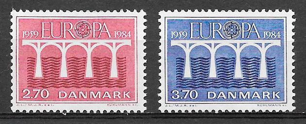 sellos Europa Dinamarca 1984