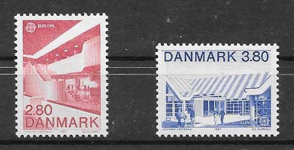 colección sellos Dinamarca 1987