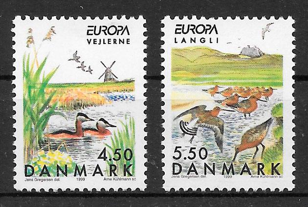 sellos Europa Dinamarca 1999