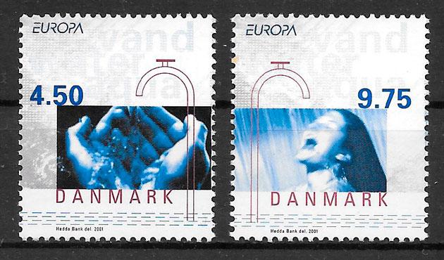 sellos Europa Dinamarca 2001