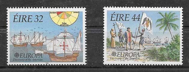 Sellos Irlanda tema Europa 1992