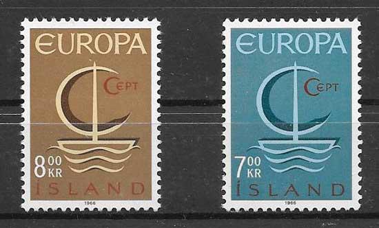 Estampillas Tema Europa Islandia 1966