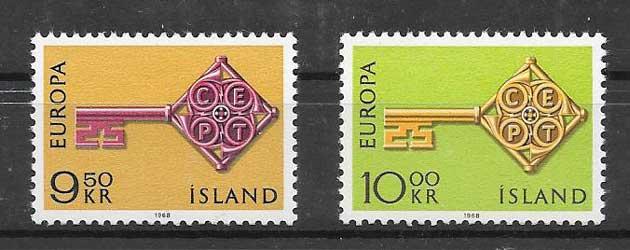 Estampillas Europa Islandia 1968