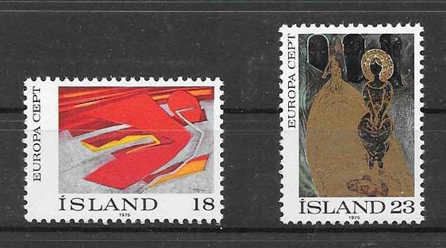 Colección sellos Tema Europa Islandia 1975