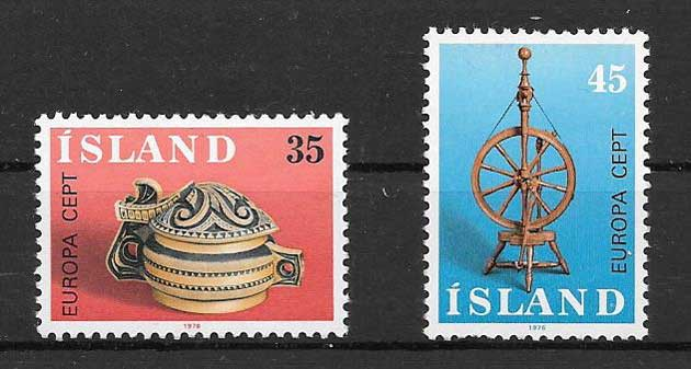 Estampillas sellos Tema Europa Islandia 1976