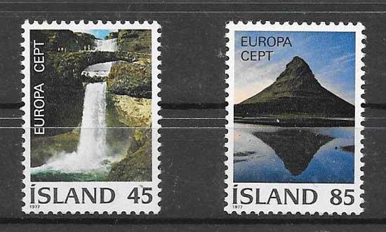 Sellos colección Islandia Tema Europa 1977