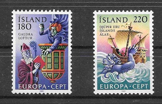 sellos Tema Europa Islandia 1981 Cuentos y leyendas