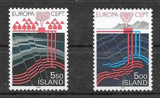 Sellos colección Tema Europa Islandia 1983