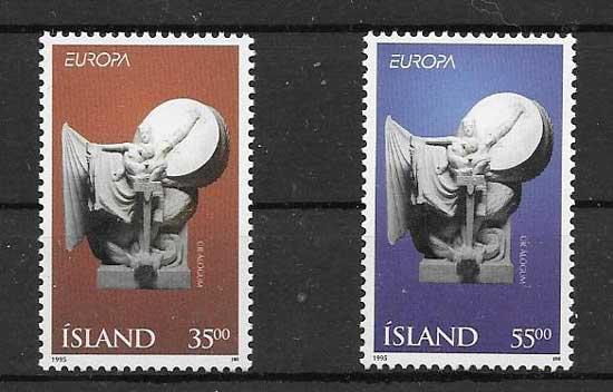 Sellos colección Islandia Tema Europa 1995