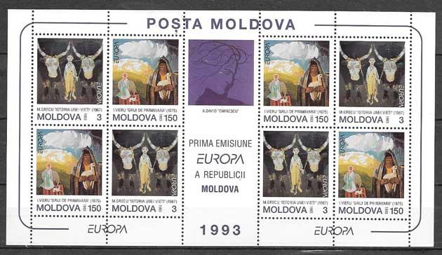 sellos colección tema Europa Moldavia 1993