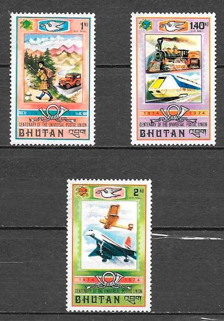 filatelia transporte Bhutan 1974