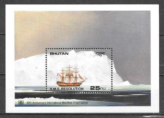 colección sellos transporte Bhutan 1990