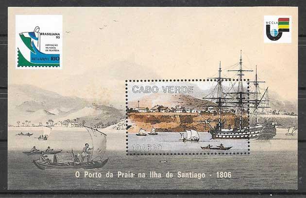Colección sellos Cabo Verde transporte